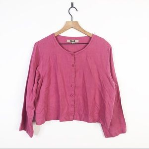 Flax Linen Pink Button Down Crop Cardigan Blouse